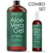 MAJESTIC PURE Aloe Vera Gel 16 ounces and Aloe Vera Hydra Spray 4 Ounces SUPER COMBO from 100% Pure and Natural Cold Pressed Aloe Vera