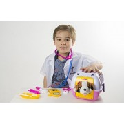 Vet kit Pet Care Play Set for Kids Pink - 11 Pieces with Lab Coat - Pretend Play Pet Vet Set for kids boys and girls - Vet on Puppy Toys and Role Play Toys. Funny Animal Toys for Toddlers - Doctor Toy