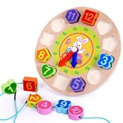 Elloapic Wooden Round Childrens Teaching Clocks Time Learning Color Wooden Shape Sorting Shape Matching Clock with String Lacing Beads function - rabbit in flower