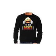 Bellatio Decorations Funny emoticon sweater I am the best zwart heren