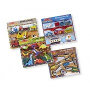 Melissa & Doug Chunky Wooden Puzzle Dinosaurs, Construction, Tools, VEHICLES Puzzle