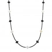 ブラックスピネル クローバー ロングネックレス【QVC】40代・50代レディースファッション