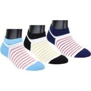 Neska Moda 3 Pair Unisex Multicolor Cotton No Show Loafer Socks S697