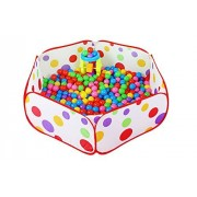Vi.yo Ball Pool Portable Baby Ball Tent Toddler Hexagon Polka Dot Play House Crush Pit Ball Baby Kids Cute Toy Tent Easy Folding (Balls not Included)