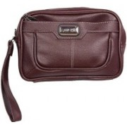 HANDCUFFS Cash Pouch/ Money Carrying Pouch/ Multipurpose travel Pouch Foam Leather G2 Brown Brown Hand-held Bag