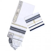 "Star Gifts Navy Blue Messianic Tallit Prayer Shawl 72"" X 22"" with Matching Bag"