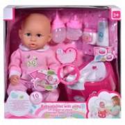 Papusa bebelus Roz ATS cu olita cu sunet si accesorii face pipi si bea apa spune mama cu 10 functii pentru copii