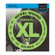 D'Addario XL Niquel 45-135 45-65-85-105-135, EXL165-5 5 cuerdas para bajo