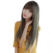 Sihui Pelucas pelo largo recto simulación de fibra química Liu Qi Hai peluca de cabello de moda multicolor conjuntos (color : Brown Black 75CM)