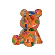 Pomme Pidou Kado spaarpot beer oranje met paraplus print 16 cm