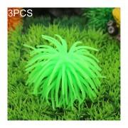3 PCS Acuario Articulos Decoracion TPR Simulación Erizo Bola De Coral, Tamaño: S, Diámetro: 7 Cm (verde)