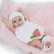 iCradle Vinyl Silicone Mini Reborn Full Body Realistic Looking Anatomically Correct Baby Doll with Knit Sweater, 10-inch/26cm (White)