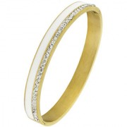 White Surgical Stainless Steel Gold Plated Openable Cz American Diamond Bangle Cuff Kada Bracelet Men