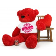 5 feet big red teddy bear wearing special Best Sister T-shirt