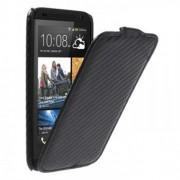"""Кожен калъф от тип """"карбон"""" с вертикално отваряне за HTC Desire 601 Zara - черен"""