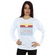Absolute Cult DC Comics Femmes-apos;s Wonder Woman 84 Truth Love And Justice Sweatshirt Blanc XX-Large