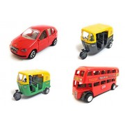 Combo of 4 Vehicle Toys | Indica Car, Auto Rickshaw, Auto Rickshaw and Double Decker Bus (Mini, Small Size) Toy for kids |Toys for Show piece | Miniature/Model Car Toys |Pull back and Go | Openable Doors | Red, Green, Black and Red Color, Set of 4 Toys
