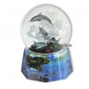 Spieluhrenwelt Schneekugel spielende Delfine mit Spieluhr
