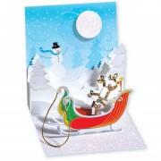 Felicitare 3d pentru iarna sania lui mos craciun plina cu cadouri