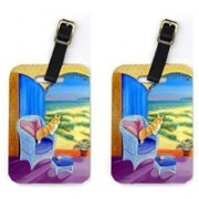 Caroline's Treasures 7184BT Pair of 2 Pembroke Corgi room with a view Luggage Tag(Multicolor)