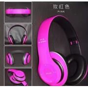 Bluetooth fejhallgató mikrofonal ,rádio fm és SD kártya ,P15 pink