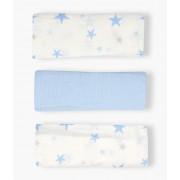 Fraldas Musselina em Algodão para Bebé Menino 3un - Azul e Branco