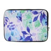 Universele blauwe bloemen watercolor design sleeve 10 inch