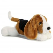 Aurora Honden speelgoed artikelen Basset hound hond knuffelbeest zwart/bruin/wit 30 cm