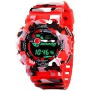 Popmode Light-Powered Sports Digital Red Army Men's Wrist Watch Thick Strap