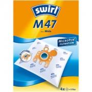 Melitta Swirl M 47 MicroPor Staubfilterbeutel, 1 Packung = 4 Stück, für Miele Typ M 47