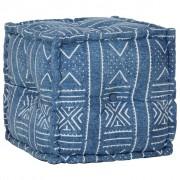 vidaXL kézzel készült mintás indigókék pamut kocka puff 40 x 40 cm