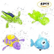 4PCS Pool Float Bath Toys (Fish + Tortoise + Hippocampus + Crocodile),Wind Up Swimming Bathtub Animal Toys Playset for Boys Girls Toddlers --- ABS Material,Smooth Appearance,Cute Appearance by ZCGC