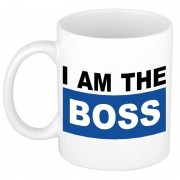 Bellatio Decorations I am the boss mok / beker blauw 300 ml