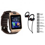 Zemini DZ09 Smart Watch and QC 10 Bluetooth Headphone for SAMSUNG W 2016(DZ09 Smart Watch With 4G Sim Card Memory Card| QC 10 Bluetooth Headphone)
