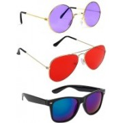 Elligator Round, Aviator, Wayfarer Sunglasses(Violet, Blue, Red)