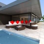vidaXL 8-dielna záhradná sedacia súprava s vankúšmi hnedá polyratanová