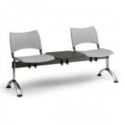 Kovo Praktik Plastové lavice VISIO, 2-sedák + stolek, chromované nohy šedá