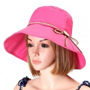 Women Summer Foldable Bowknot Fisherman Hats Casual Wide Brim Anti-UV Visor Bucket Hat