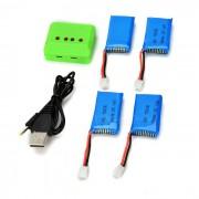 X4-004 4 * Baterias 3.7V 380mAh Li-polimero + 1-a-4 Cargador de Balance Set