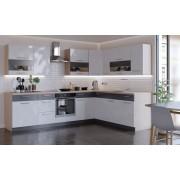 A Je To Rohová kuchyně marina levý roh 285x210 cm (bílá vysoký lesk/grafit)
