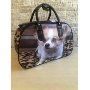 Közepes méretű kutyus mintájú bőrönd Angela