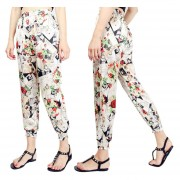 Suelto Pantalones De Pierna Ancha /harén Con Bolsillos Estampado Floral -Flores