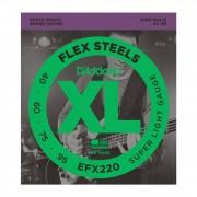 D'Addario Juego de 4 cuerdas para Bajo EFX FlexSteels 40-095 40-60-075-95, EFX220