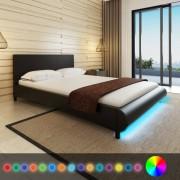 vidaXL Pat cu saltea și LED, 140 x 200 cm, piele artificială, negru