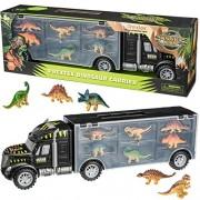 Prextex 16‰Û Tractor Trailer Dinosaur Carrier with 6 Mini Plastic Dinosaurs