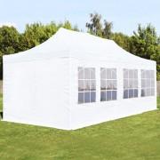 Intent24.fr Tente pliante 3x6m PES 300 g/m² blanc imperméable barnum pliant, tonnelle pliante