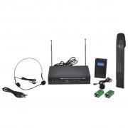 vidaXL Приемник с 1 безжичен VHF микрофон и 1 безжични VHF слушалки