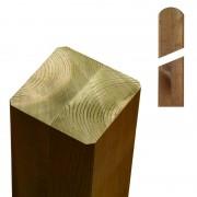 Plus Danmark Paal vuren 9 x 9 cm teak geverfd (157 cm) met ongepunte en afgeronde kant geschaafd