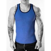 Whittall & Shon MIX Contrast Ribbed Tank Top T Shirt Light Blue/Navy 304