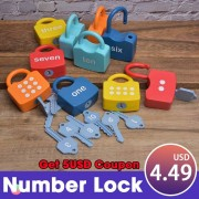 1PCS Number Lock Key Match Educational Toys For Children Math Count Montessori Materials Kindergarten Teaching Aids Learning Toy